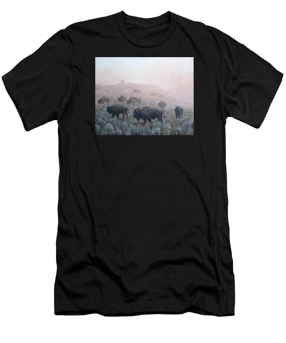 Western Art T-Shirt featuring the painting Buffalo in Yellowstone Fog by Scott Robertson