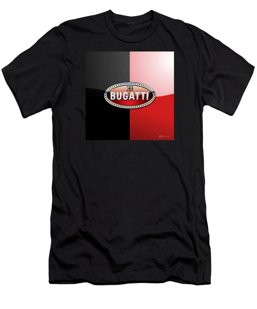 Wheels Of Fortune By Serge Averbukh Men's T-Shirt (Athletic Fit) featuring the photograph Bugatti 3 D Badge On Red And Black by Serge Averbukh