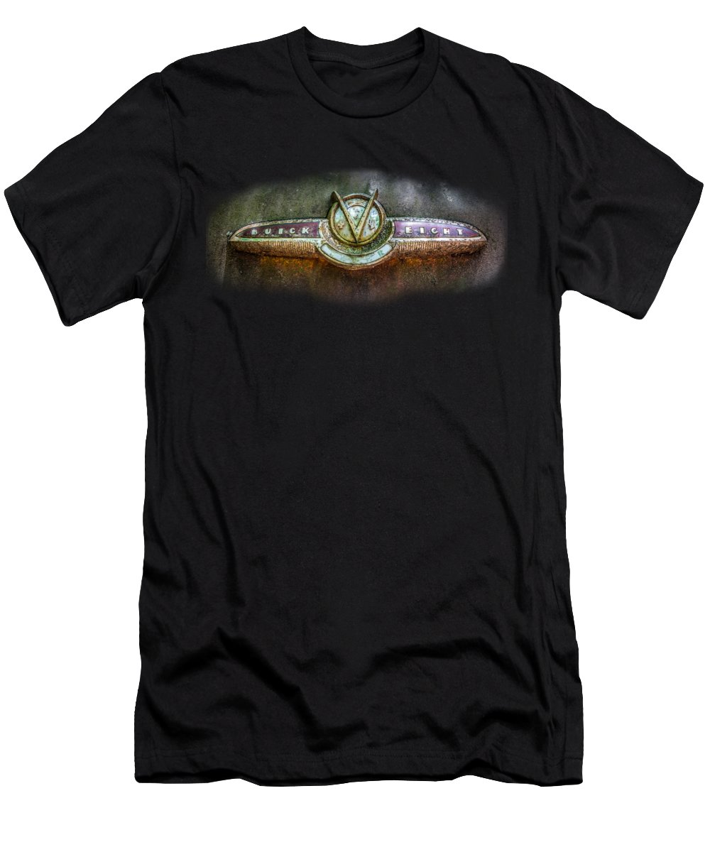 Abandoned Men's T-Shirt (Athletic Fit) featuring the photograph Buick Super Eight Logo by Debra and Dave Vanderlaan