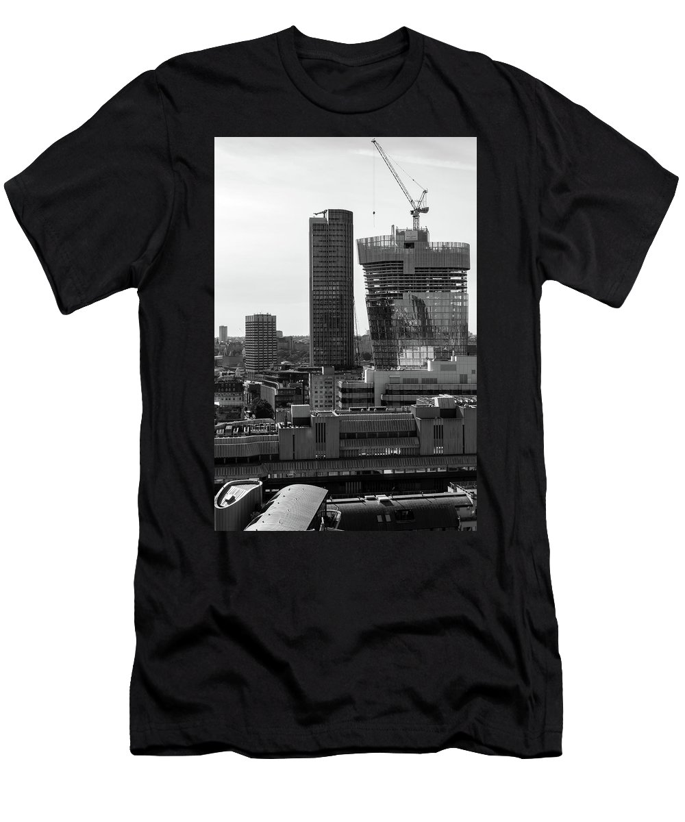 Blackandwhite Men's T-Shirt (Athletic Fit) featuring the photograph Building In Construction by Jamie Hunt