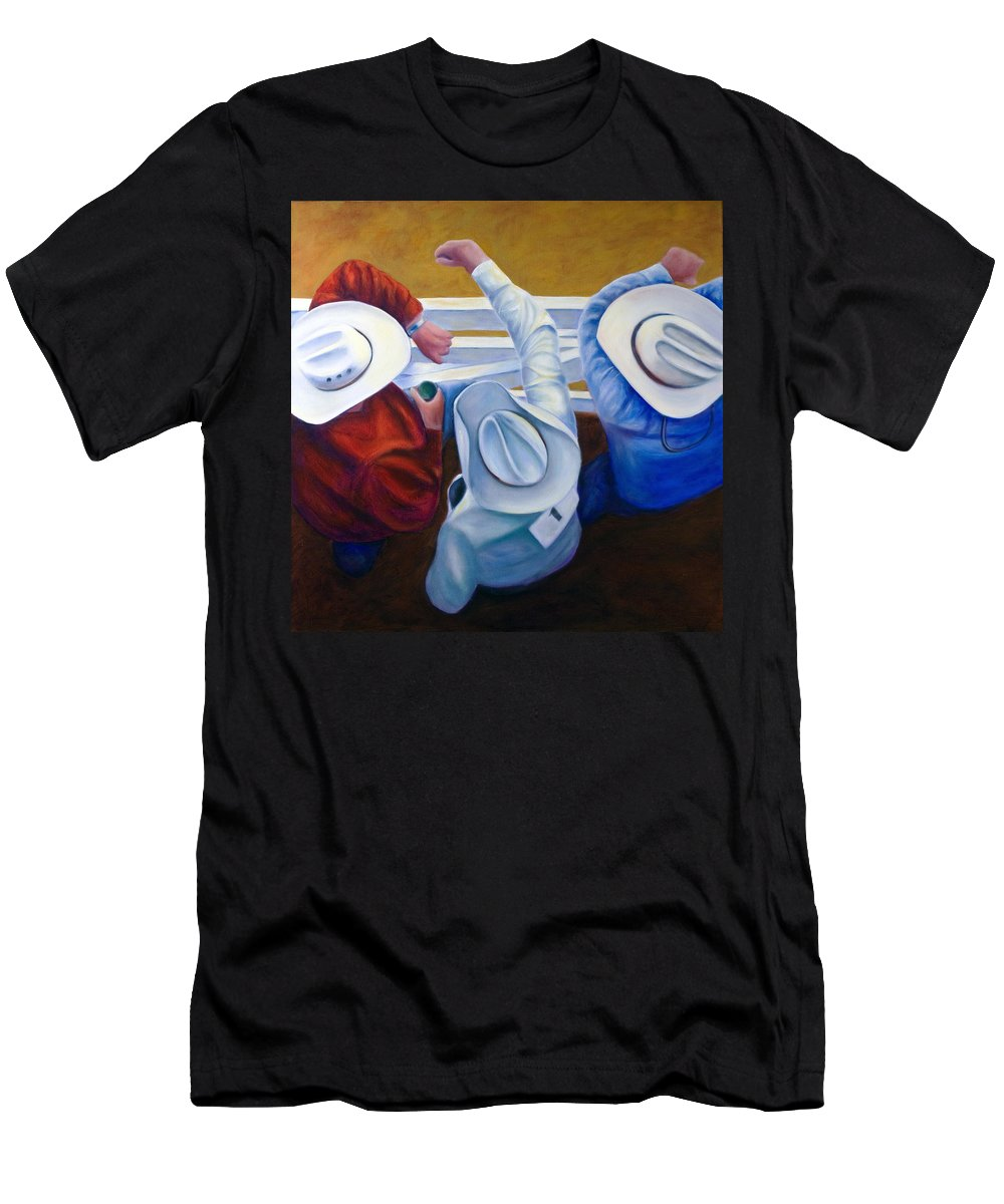 Western T-Shirt featuring the painting Bull Chute by Shannon Grissom