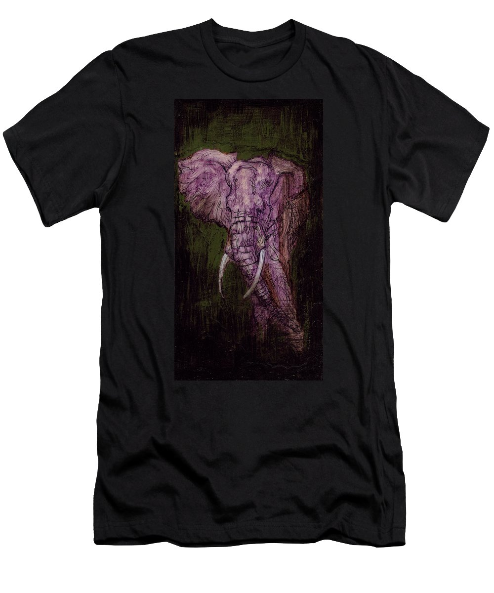 Fish Men's T-Shirt (Athletic Fit) featuring the mixed media Bull Elephant by Sam Arneson