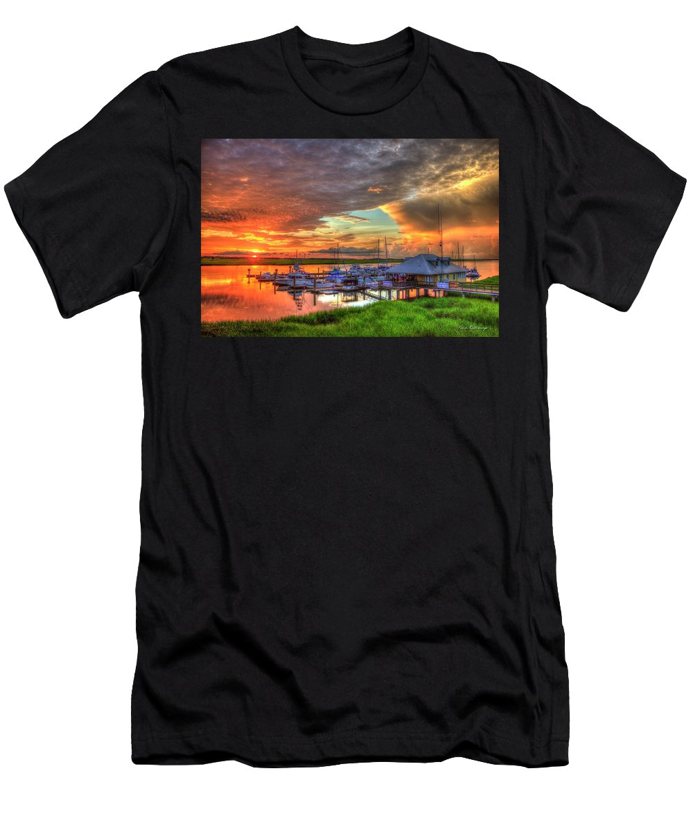 Reid Callaway Bull River Marina Sunrise 2 Men's T-Shirt (Athletic Fit) featuring the photograph Bull River Marina Sunrise 2 Sunrise Art by Reid Callaway