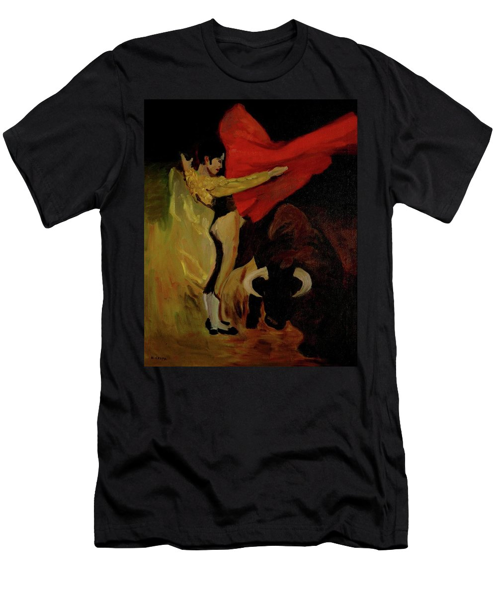 Matador Men's T-Shirt (Athletic Fit) featuring the painting Bullfighter By Mary Krupa by Bernadette Krupa