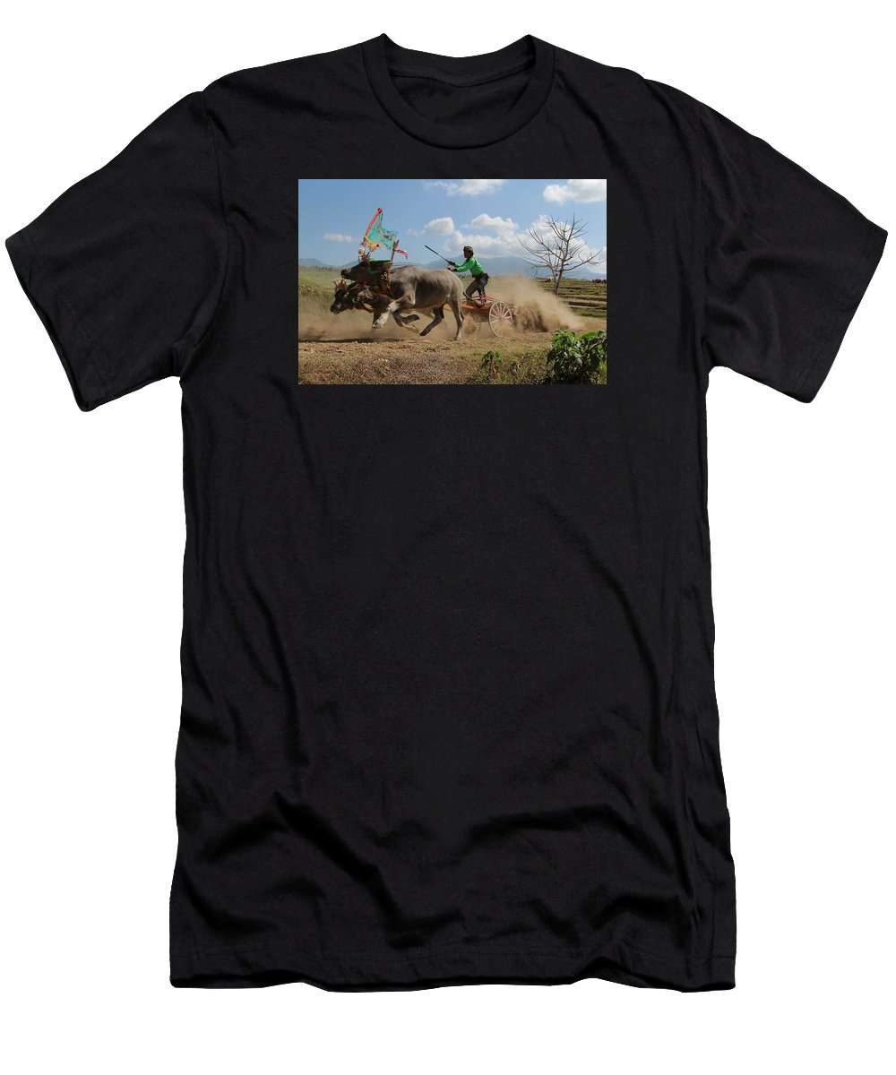 Race Buffalo Competion Men's T-Shirt (Athletic Fit) featuring the photograph Bullrace by Gusti putu Suarsana