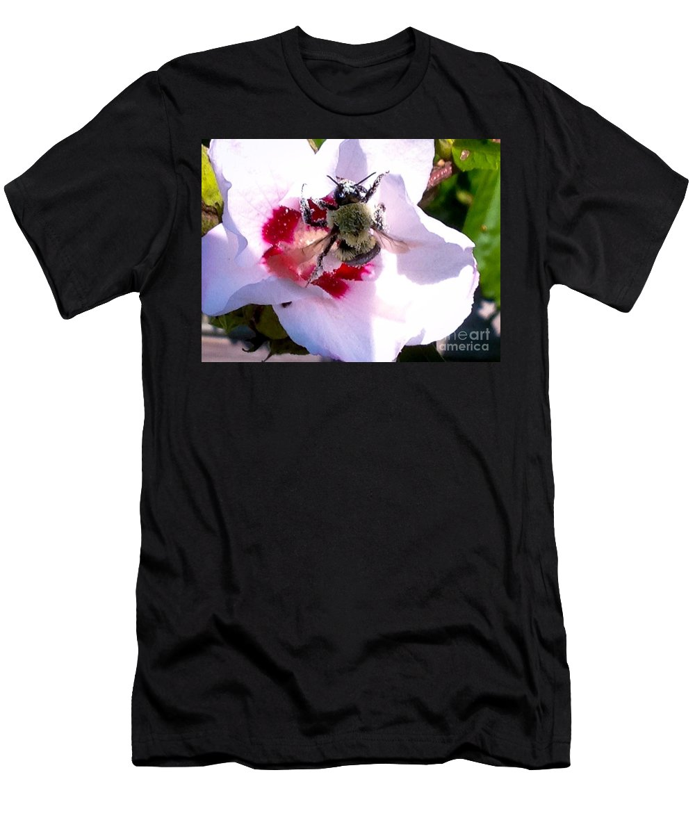 Flower Men's T-Shirt (Athletic Fit) featuring the photograph Bumble Bee Making His Escape From Hibiscus Flower by Debra Lynch