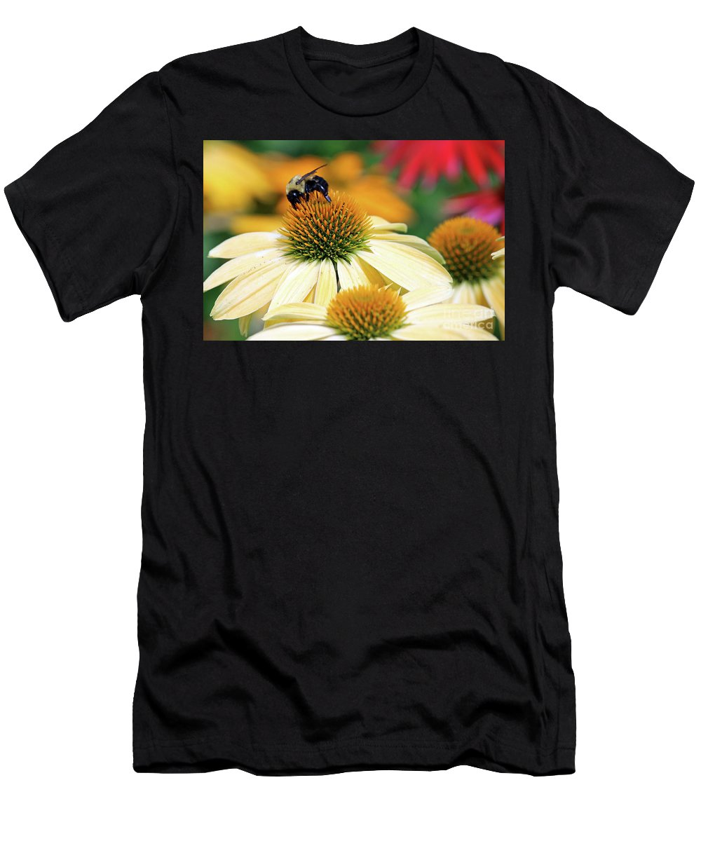 Flowers Men's T-Shirt (Athletic Fit) featuring the photograph Bumble Bee On Top by Steve Gass