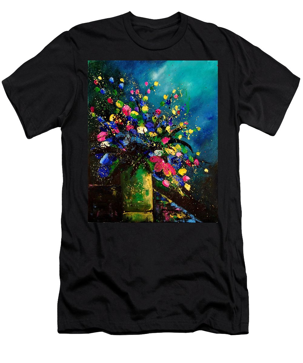 Poppies Men's T-Shirt (Athletic Fit) featuring the painting Bunch 45 by Pol Ledent