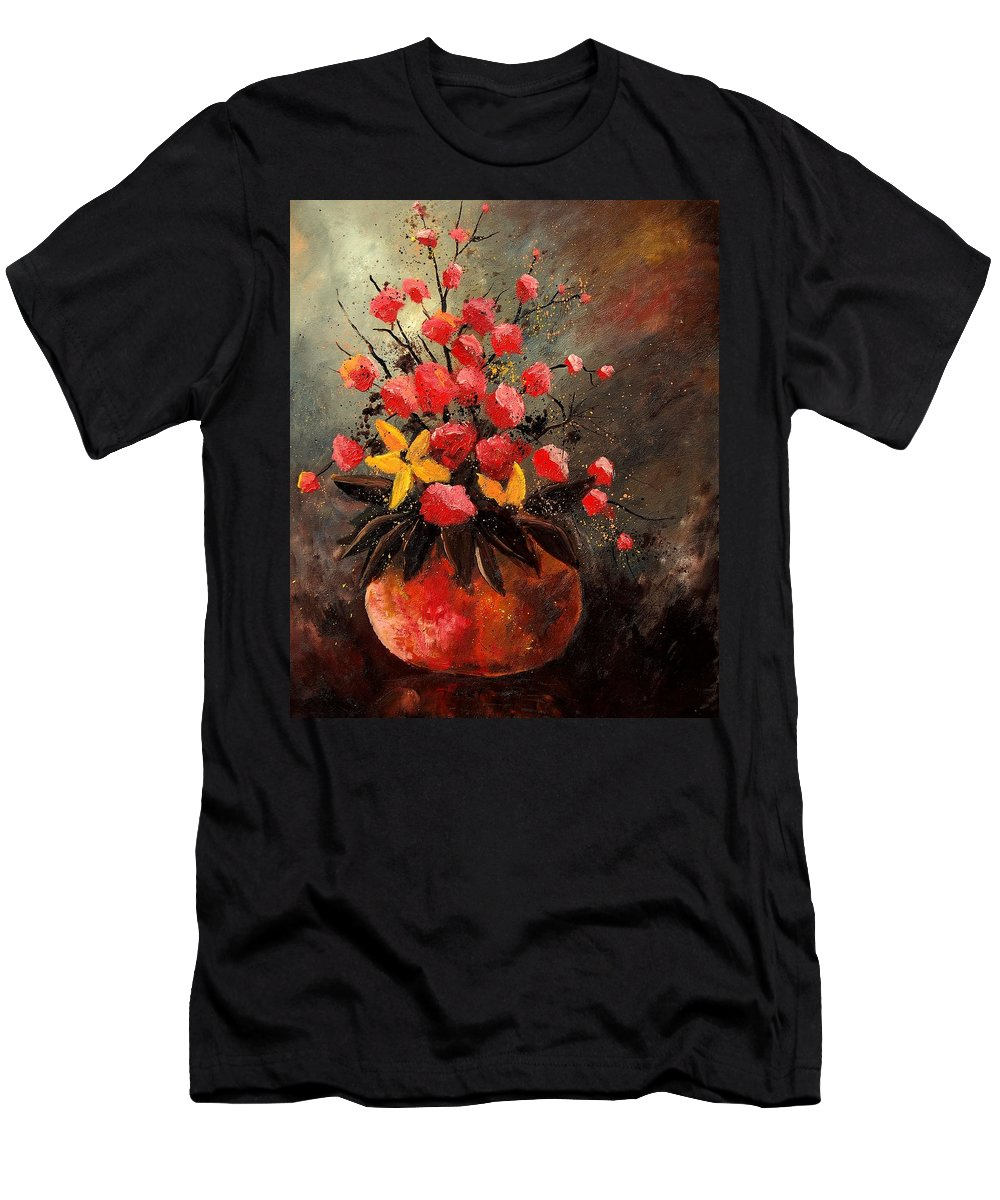 Flowers Men's T-Shirt (Athletic Fit) featuring the painting Bunch 569060 by Pol Ledent