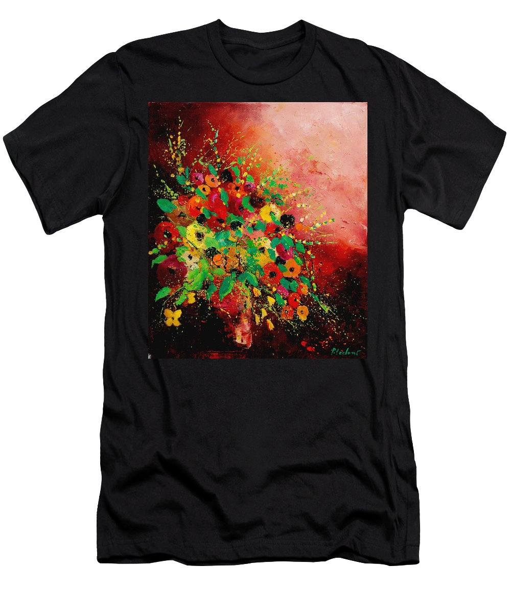 Flowers Men's T-Shirt (Athletic Fit) featuring the painting Bunch Of Flowers 0507 by Pol Ledent