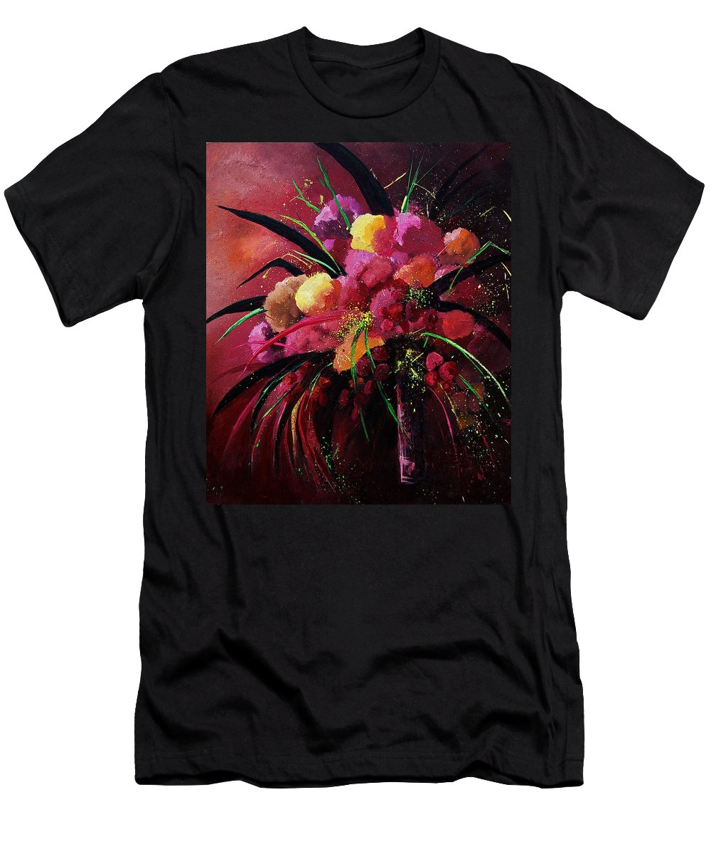 Flowers T-Shirt featuring the painting Bunch Of Red Flowers by Pol Ledent