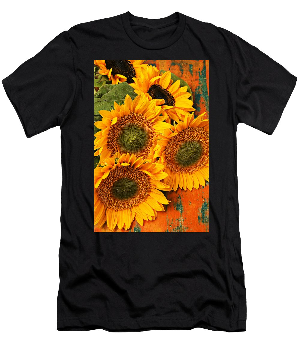Sunflowers Men's T-Shirt (Athletic Fit) featuring the photograph Bunch Of Sunflowers by Garry Gay