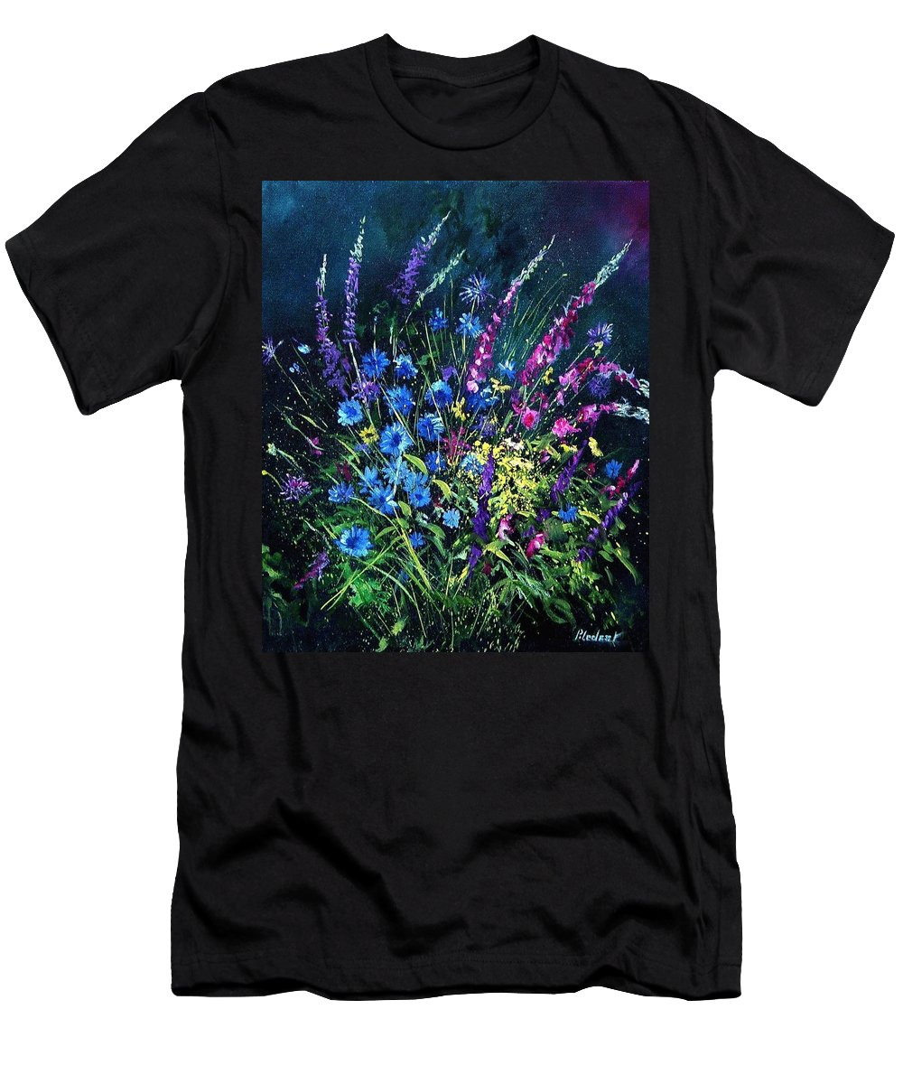 Poppies Men's T-Shirt (Athletic Fit) featuring the painting Bunch Of Wild Flowers by Pol Ledent