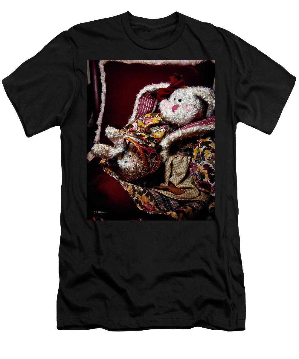 Bunny Men's T-Shirt (Athletic Fit) featuring the photograph Bunny With Her Bunny by Christopher Holmes