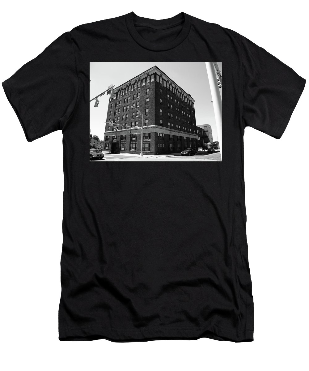 America Men's T-Shirt (Athletic Fit) featuring the photograph Burlington North Carolina - Main Street Bw by Frank Romeo