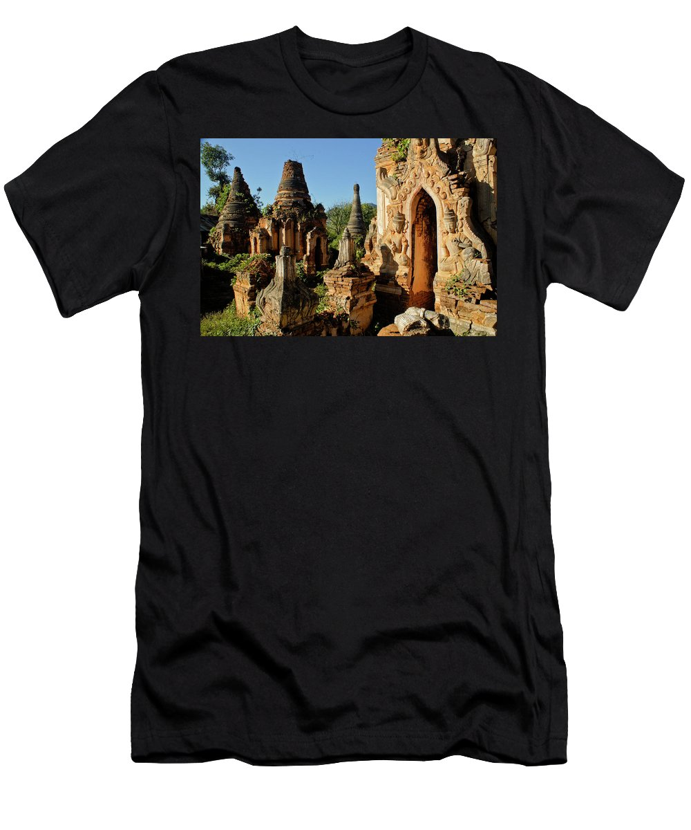 Asia Men's T-Shirt (Athletic Fit) featuring the photograph Burmese Pagodas In Ruins by Michele Burgess
