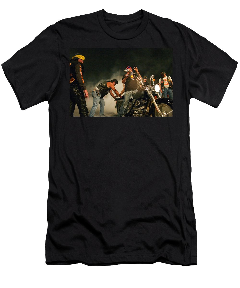 Biker Men's T-Shirt (Athletic Fit) featuring the photograph Burn Out by Skip Hunt