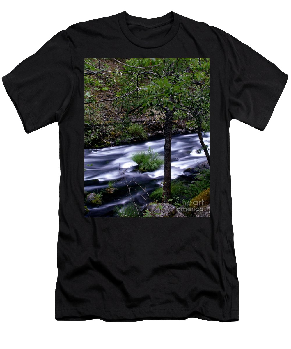 River Men's T-Shirt (Athletic Fit) featuring the photograph Burney Creek by Peter Piatt
