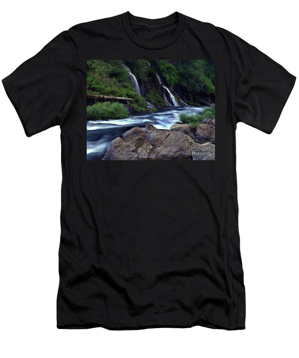 River Men's T-Shirt (Athletic Fit) featuring the photograph Burney Falls Creek by Peter Piatt