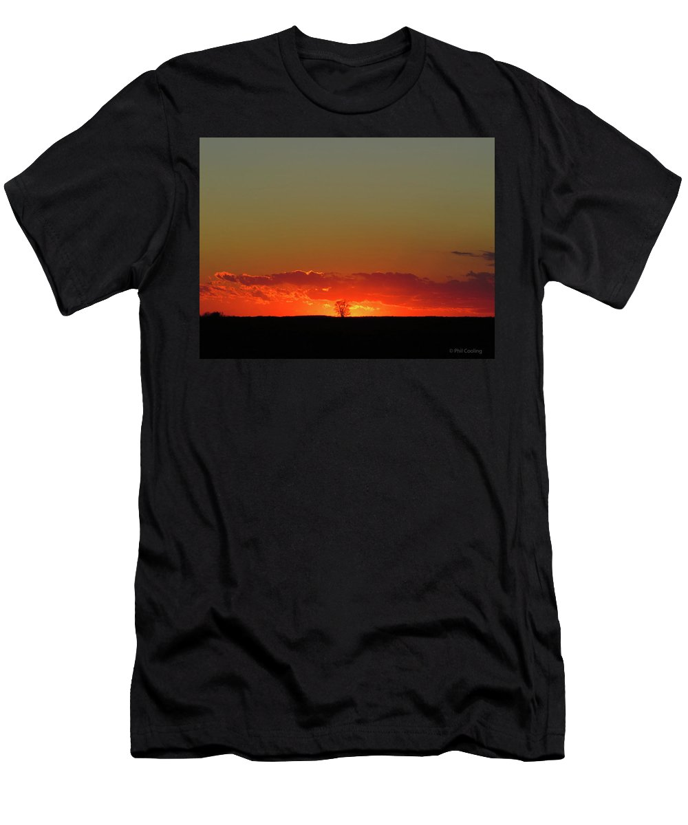 Sunset Men's T-Shirt (Athletic Fit) featuring the photograph Burning Tree Sunset by Phil Cooling