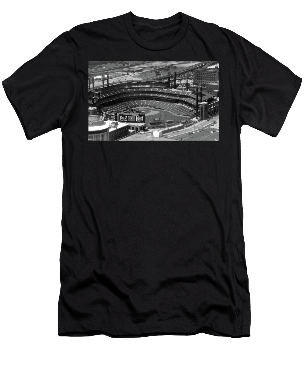 Sports Men's T-Shirt (Athletic Fit) featuring the photograph Busch Memorial Stadium Bw by Thomas Woolworth