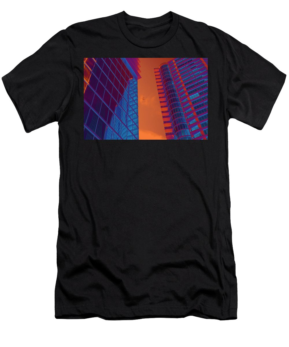 Multi Colored Men's T-Shirt (Athletic Fit) featuring the photograph Business Travel, Architectural Abstract by Craig McCausland