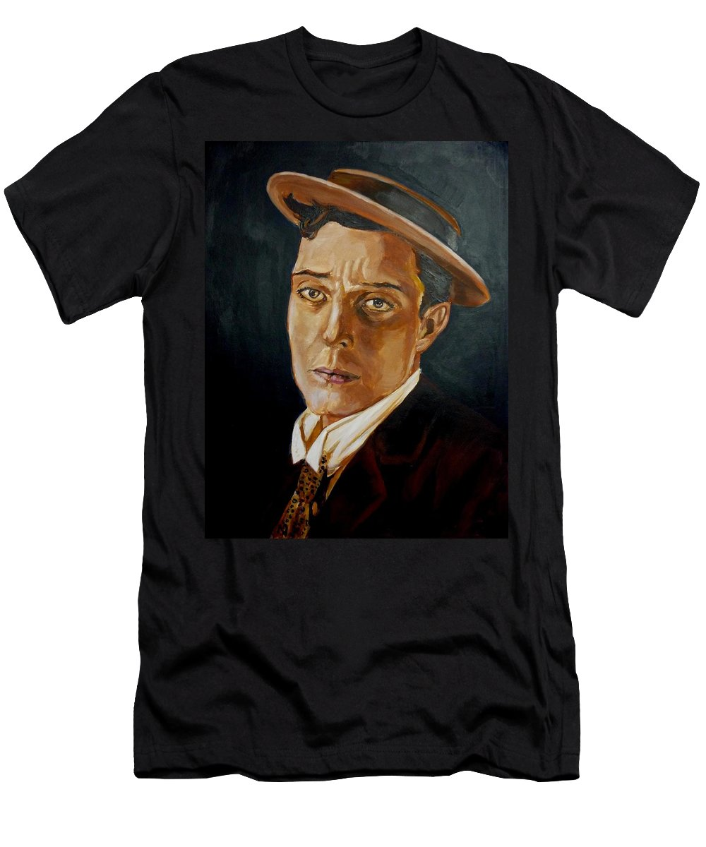 Comedy Men's T-Shirt (Athletic Fit) featuring the painting Buster Keaton Tribute by Bryan Bustard