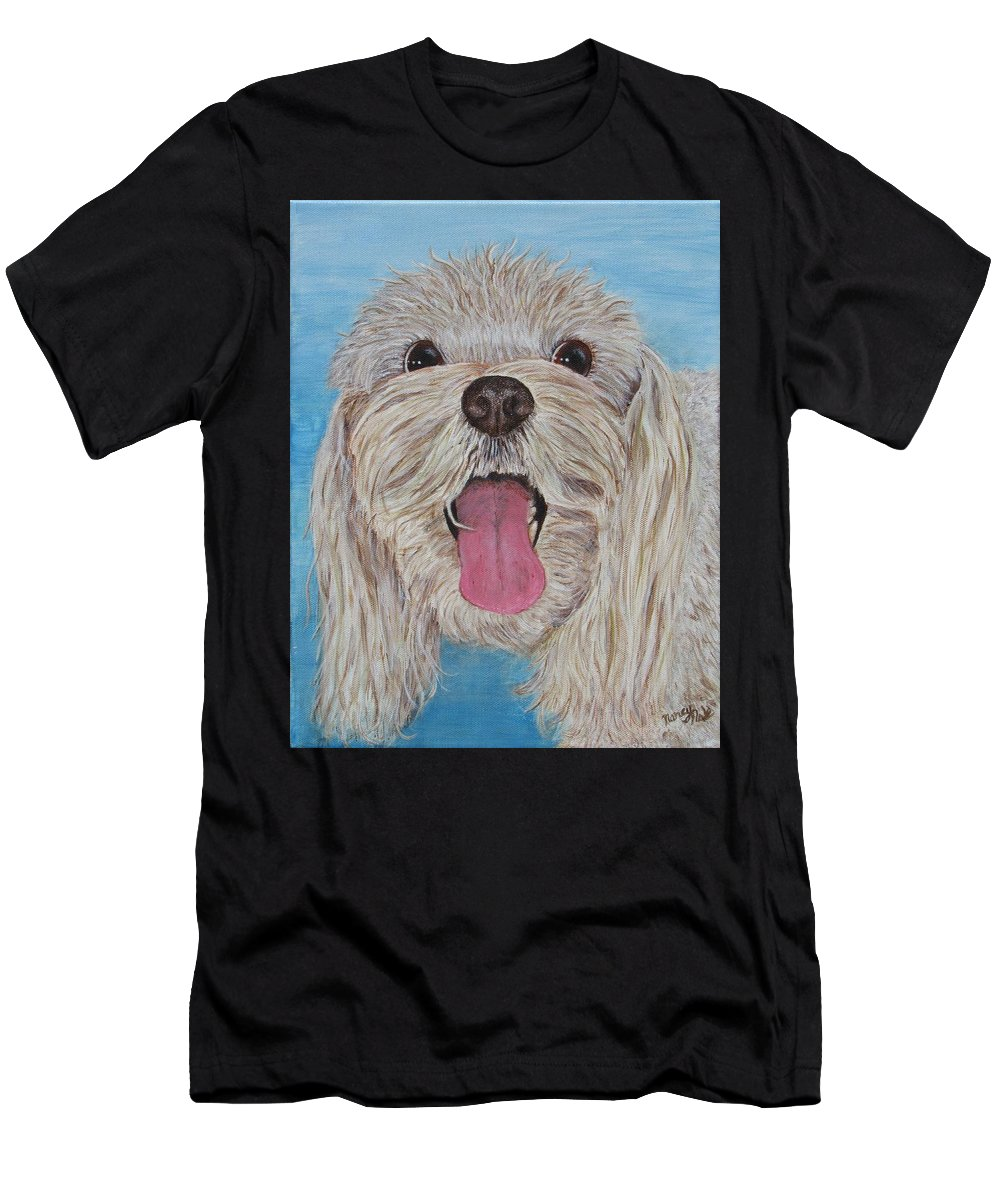 Dog Men's T-Shirt (Athletic Fit) featuring the painting Buster by Nancy Nale