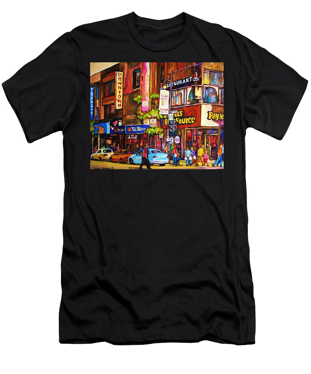 Cityscape Men's T-Shirt (Athletic Fit) featuring the painting Busy Downtown Street by Carole Spandau
