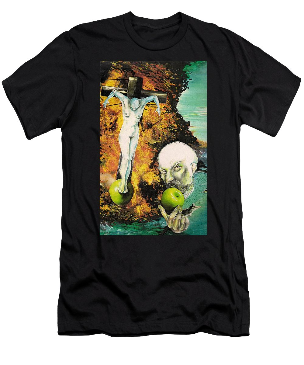 Lust Temptation Crucifix Hell Inferno Heaven Water Woman Sex Lust Apple Fire Men's T-Shirt (Athletic Fit) featuring the mixed media But For Lust... by Veronica Jackson