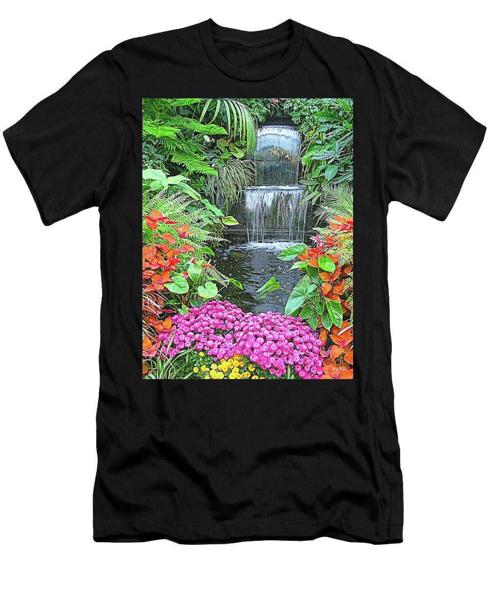 Gardens Men's T-Shirt (Athletic Fit) featuring the photograph Butchart Gardens Waterfall by Wendy McKennon
