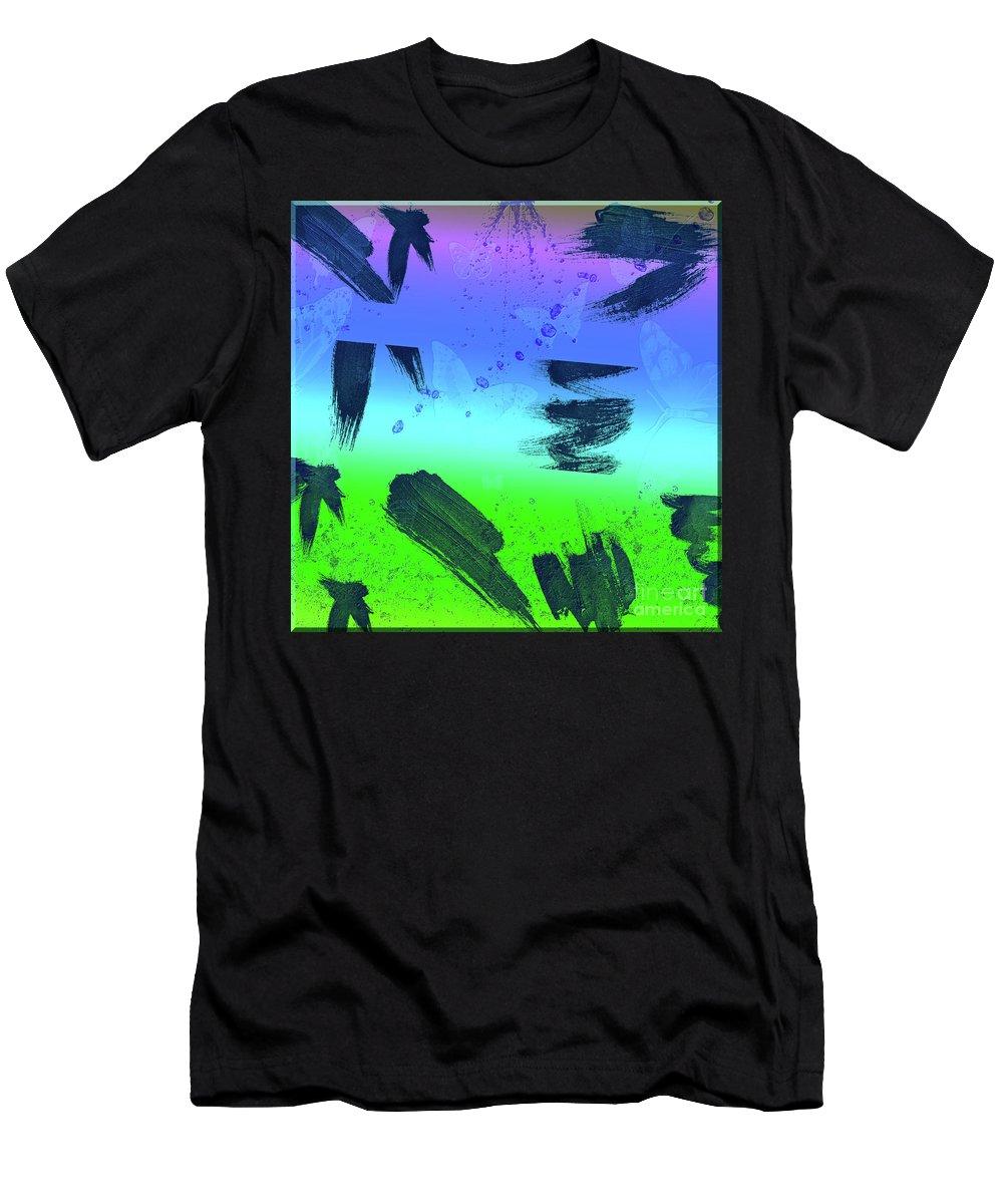 Butterflies Men's T-Shirt (Athletic Fit) featuring the digital art butterflies in Colors by Ivan Angelovski