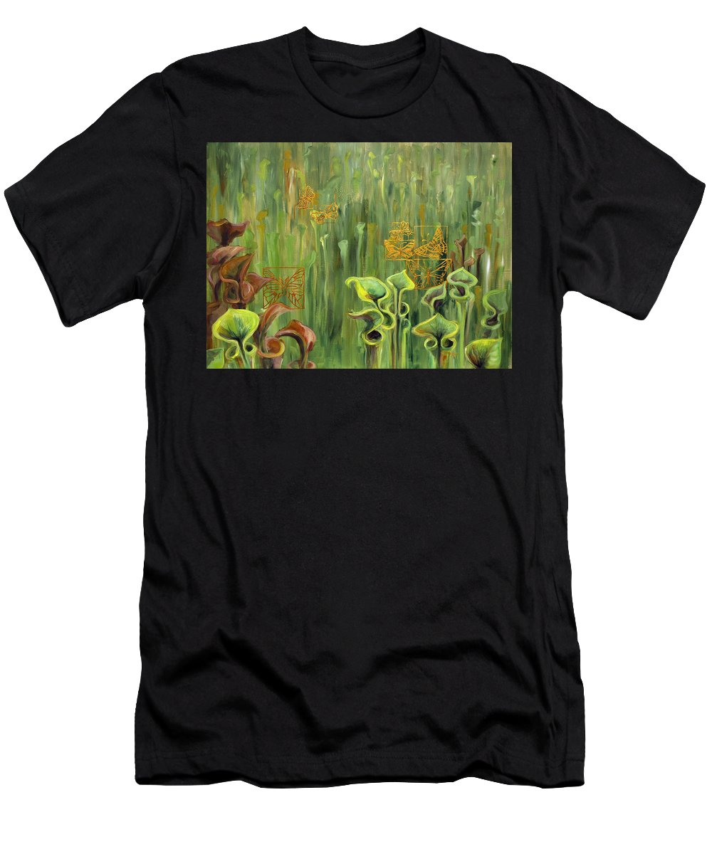Acrylic Men's T-Shirt (Athletic Fit) featuring the painting Butterflies In The Bog by Suzanne McKee