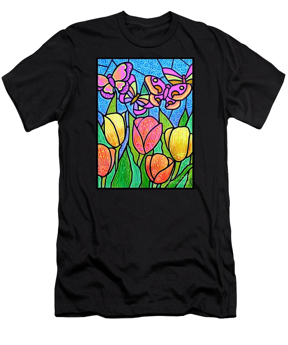 Butterflies Men's T-Shirt (Athletic Fit) featuring the painting Butterflies In The Tulip Garden by Jim Harris