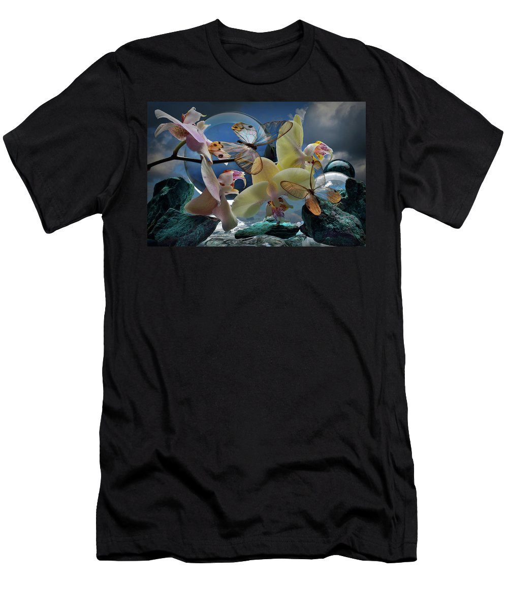 Flowers Men's T-Shirt (Athletic Fit) featuring the photograph Butterfly And Orhid by Sergey Babich