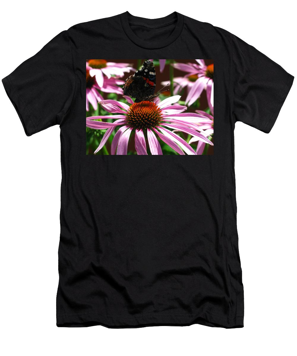 Flower Photograph Men's T-Shirt (Athletic Fit) featuring the photograph Butterfly And Pink Cone Flower by Brittany Horton