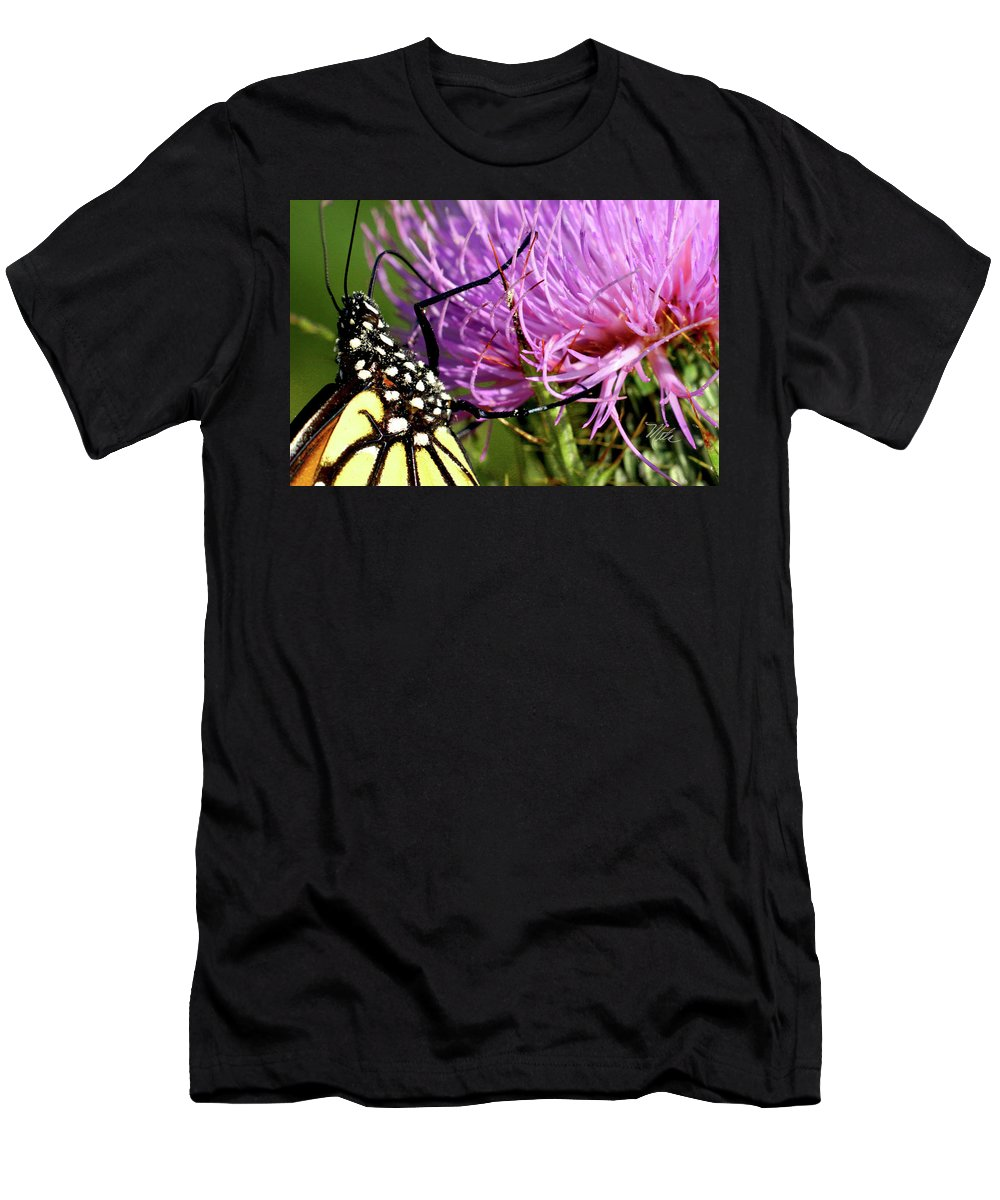 Macro Photography T-Shirt featuring the photograph Butterfly On Bull Thistle by Meta Gatschenberger