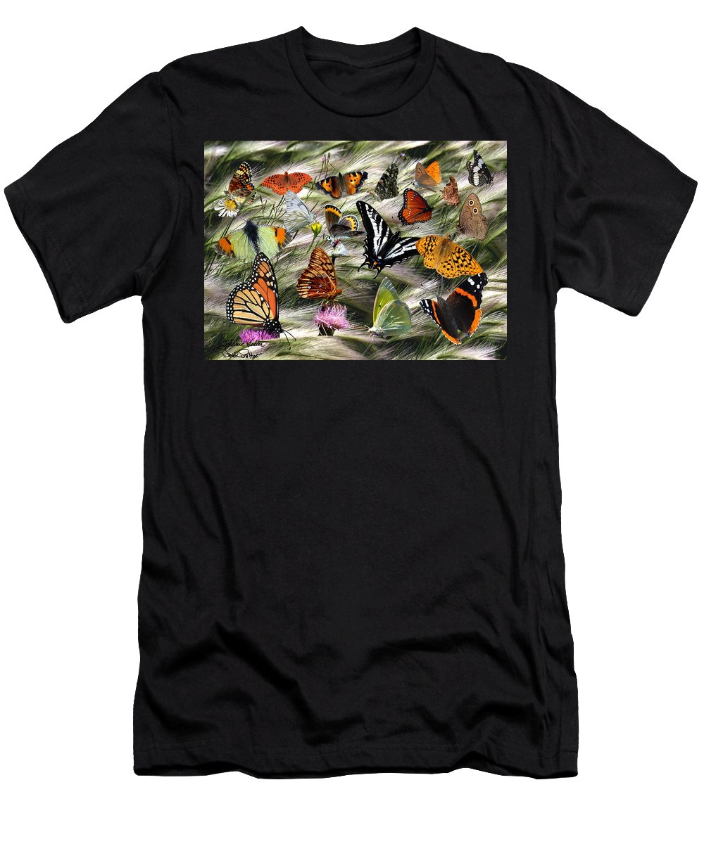 Nature Men's T-Shirt (Athletic Fit) featuring the photograph Butterfly Collage by David Salter