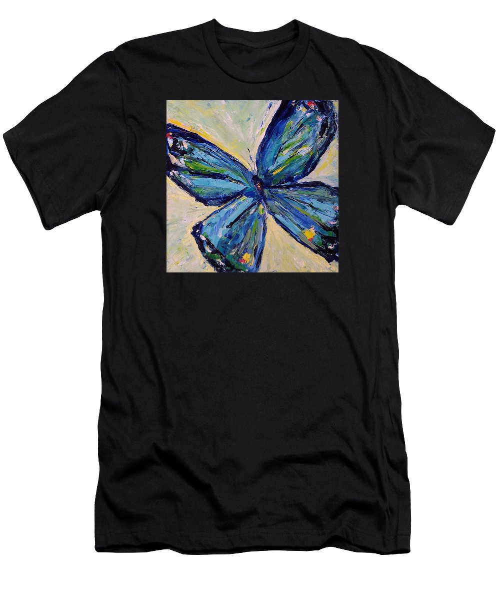 Impressionism Men's T-Shirt (Athletic Fit) featuring the painting Butterfly I by Jo Gerrior