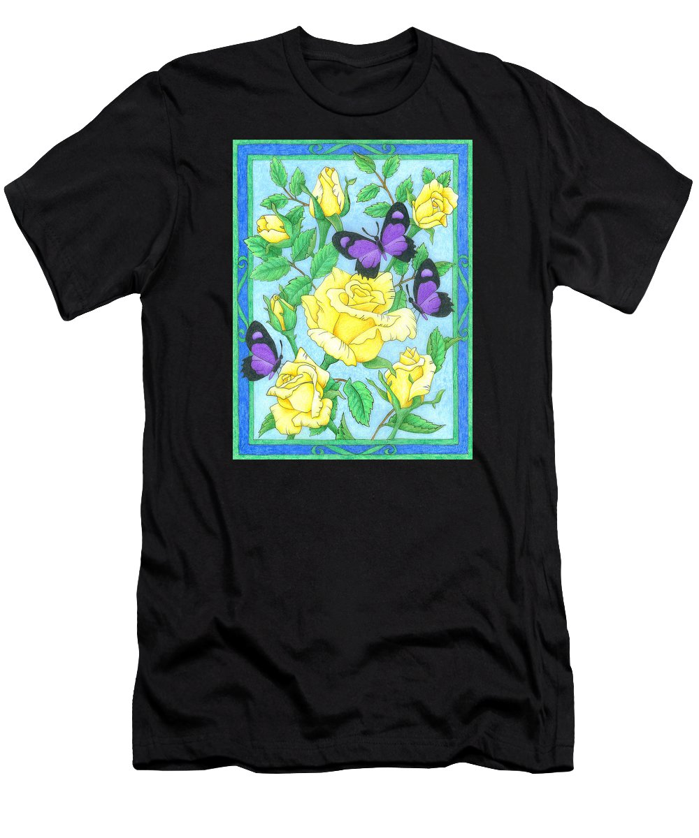 Flower Men's T-Shirt (Athletic Fit) featuring the drawing Butterfly Idyll-roses by Alison Stein