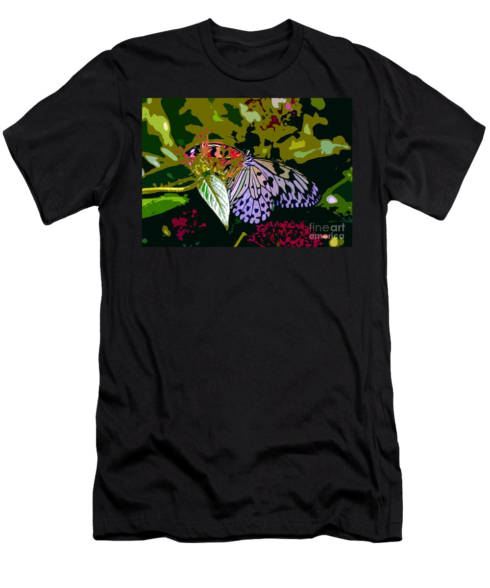 Butterfly Men's T-Shirt (Athletic Fit) featuring the photograph Butterfly In Garden by David Lee Thompson