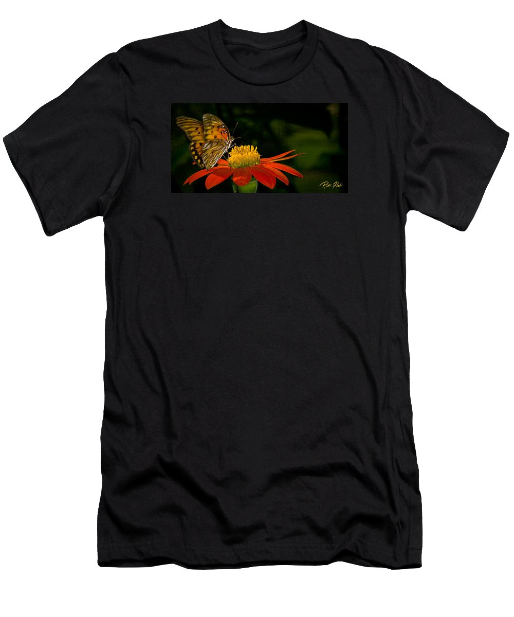 Animals Men's T-Shirt (Athletic Fit) featuring the photograph Butterfly On Blossom by Rikk Flohr