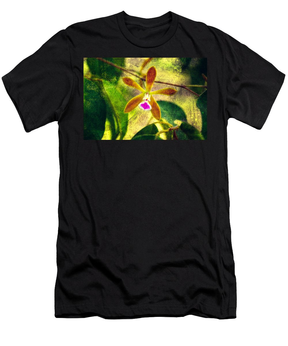 Orchid Men's T-Shirt (Athletic Fit) featuring the photograph Butterfly Orchid - Encyclia Tampensis by Rich Leighton