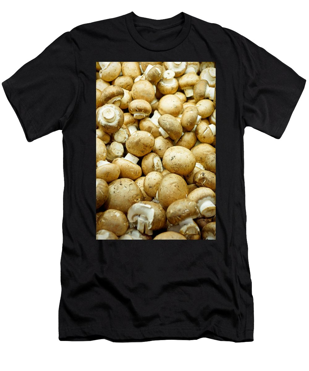 Button Mushrooms Men's T-Shirt (Athletic Fit) featuring the photograph Button Mushrooms by Robert Meyers-Lussier