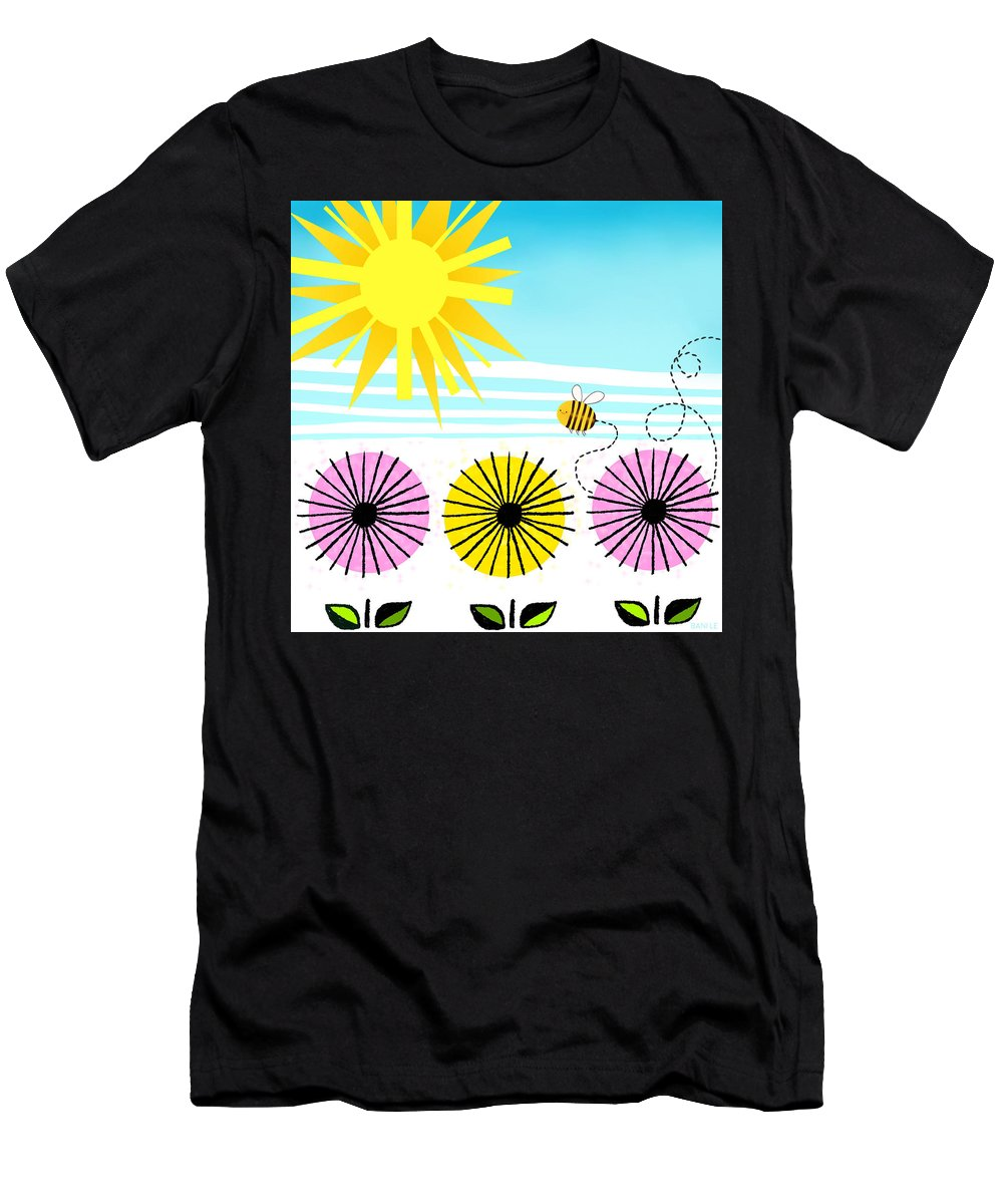 Bee Men's T-Shirt (Athletic Fit) featuring the painting Buzzy As A Bee by Little Bunny Sunshine