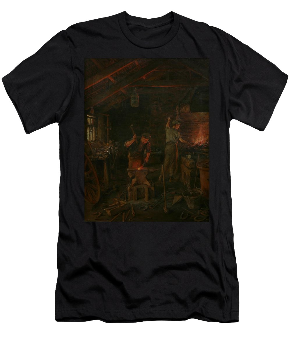 Interior Men's T-Shirt (Athletic Fit) featuring the painting By Hammer And Hand All Arts Doth Stand by William Banks Fortescue