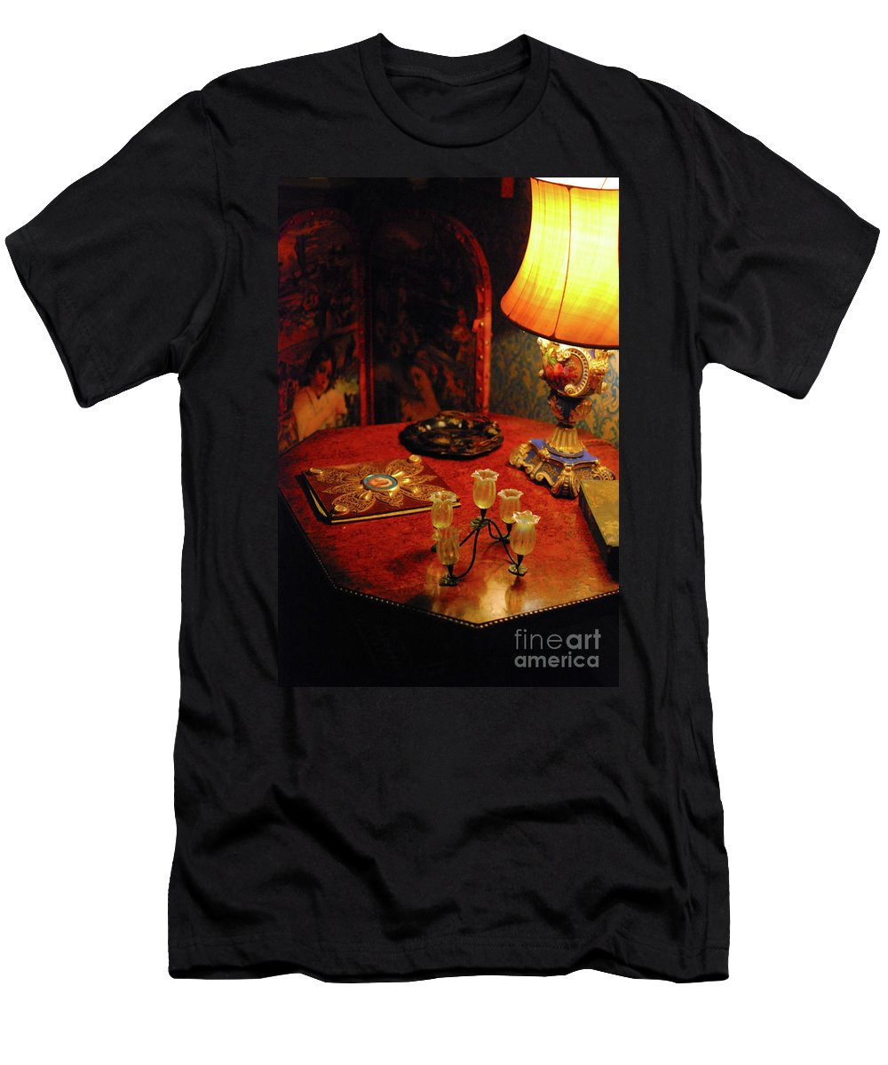 Lamp Men's T-Shirt (Athletic Fit) featuring the photograph By Lamplight by Richard Gibb