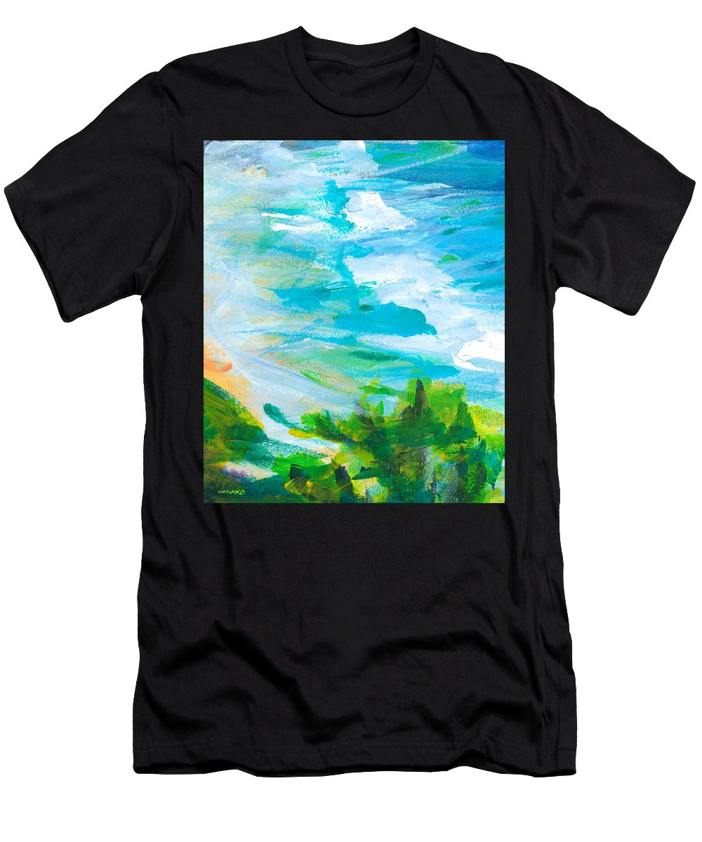 Abstract Men's T-Shirt (Athletic Fit) featuring the painting By The Beach by Hanako Hawaii
