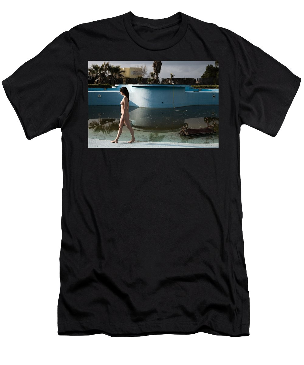 Nudes Men's T-Shirt (Athletic Fit) featuring the photograph By The Old Pool by Olivier De Rycke