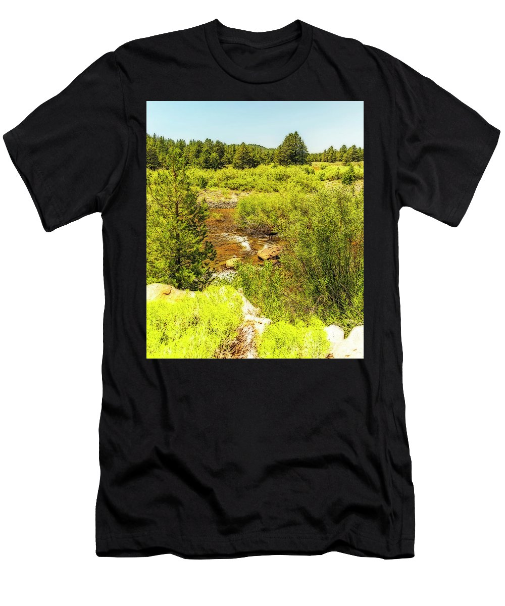 Stream Men's T-Shirt (Athletic Fit) featuring the photograph By The Stream by Nancy Marie Ricketts